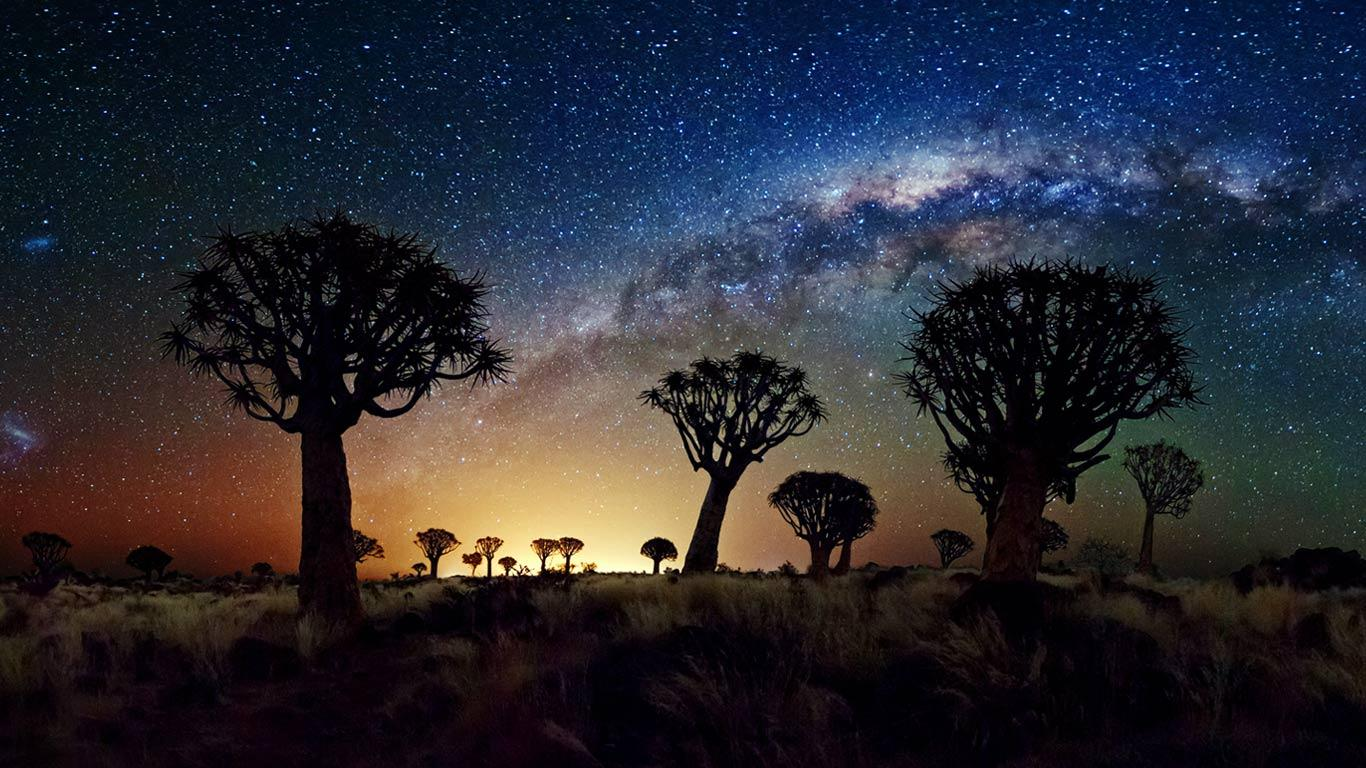 lugares del mundo para ver las estrellas Desierto de Namib Reserva Natural, Namibia de noche